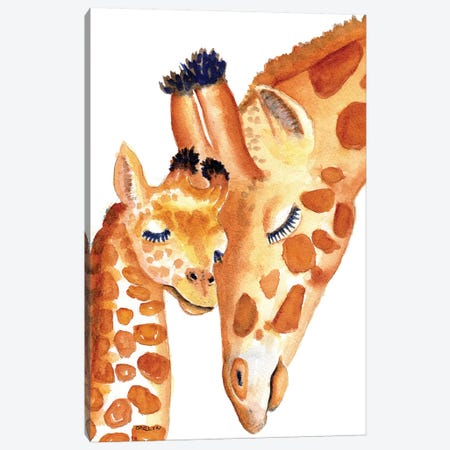 Mother And Baby Giraffes Sweetness Canvas Print #CLN22} by Carlin Canvas Print