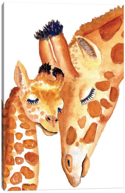 Mother And Baby Giraffes Sweetness Canvas Art Print