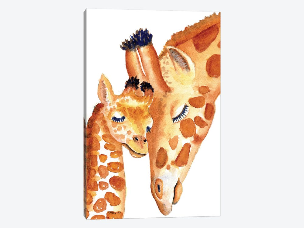 Mother And Baby Giraffes Sweetness by Carlin 1-piece Art Print