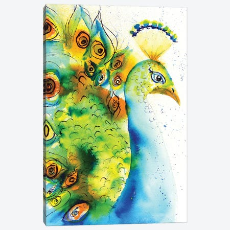 Peacock Dance Canvas Print #CLN25} by Carlin Canvas Artwork