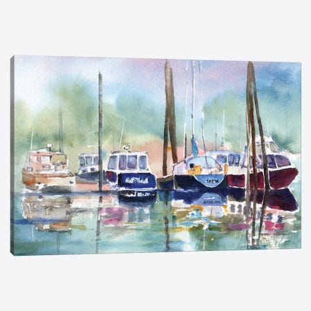 Foggy Marina Canvas Print #CLN63} by Carlin Art Print