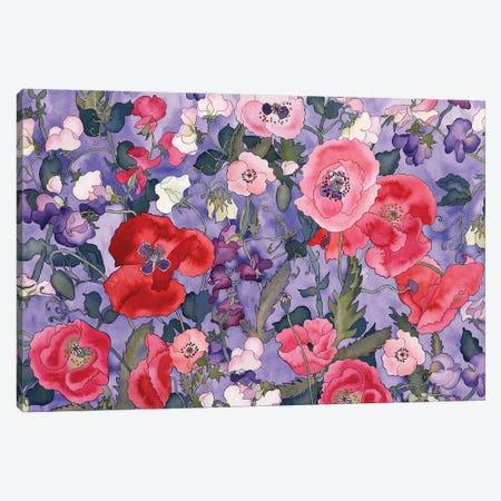 Poppies & Sweet Peas Pattern-Light Canvas Print #CLU106} by Carissa Luminess Canvas Art Print