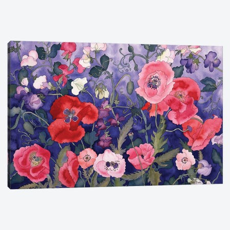 Poppies and Sweet Canvas Print #CLU108} by Carissa Luminess Canvas Artwork