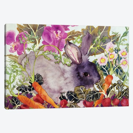 Rabbit with Carrots Canvas Print #CLU115} by Carissa Luminess Canvas Art