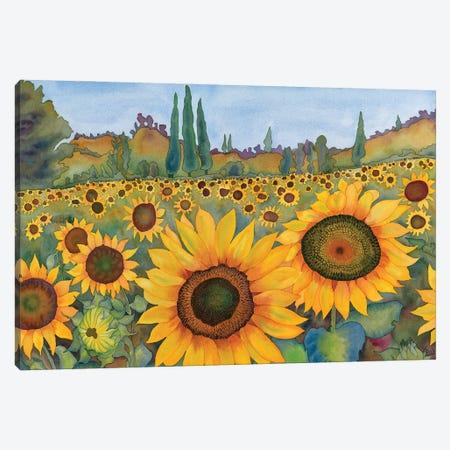 Sunflower Fields Canvas Print #CLU142} by Carissa Luminess Canvas Artwork