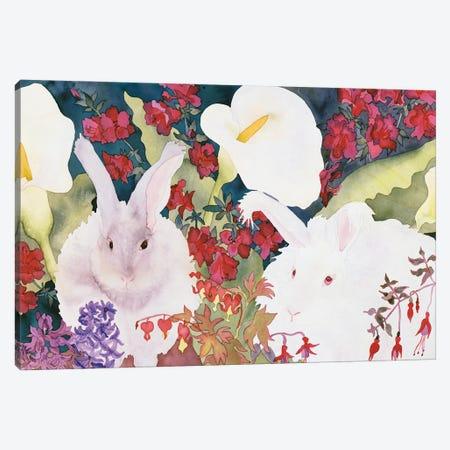 Bunnies with Callas Canvas Print #CLU17} by Carissa Luminess Canvas Art