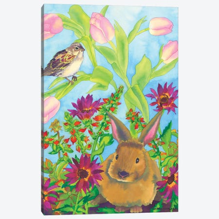 Bunny and Sparrow Canvas Print #CLU18} by Carissa Luminess Canvas Print