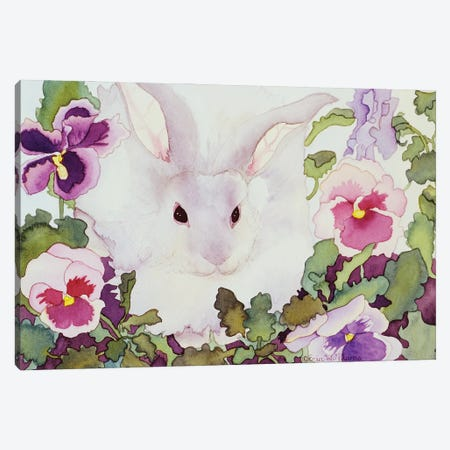 Bunny with Pansies Canvas Print #CLU23} by Carissa Luminess Canvas Wall Art
