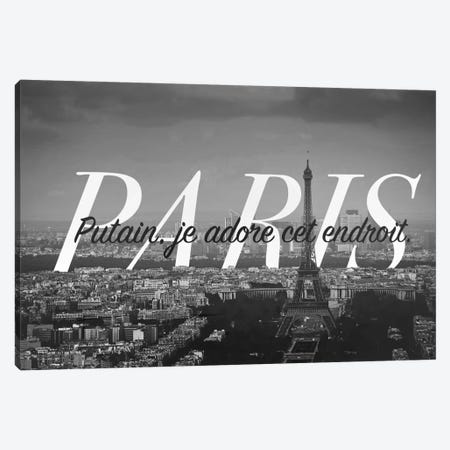 B/W Paris Love Canvas Print #CLV11} by 5by5collective Canvas Artwork