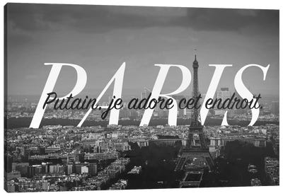 B/W Paris Love Canvas Art Print