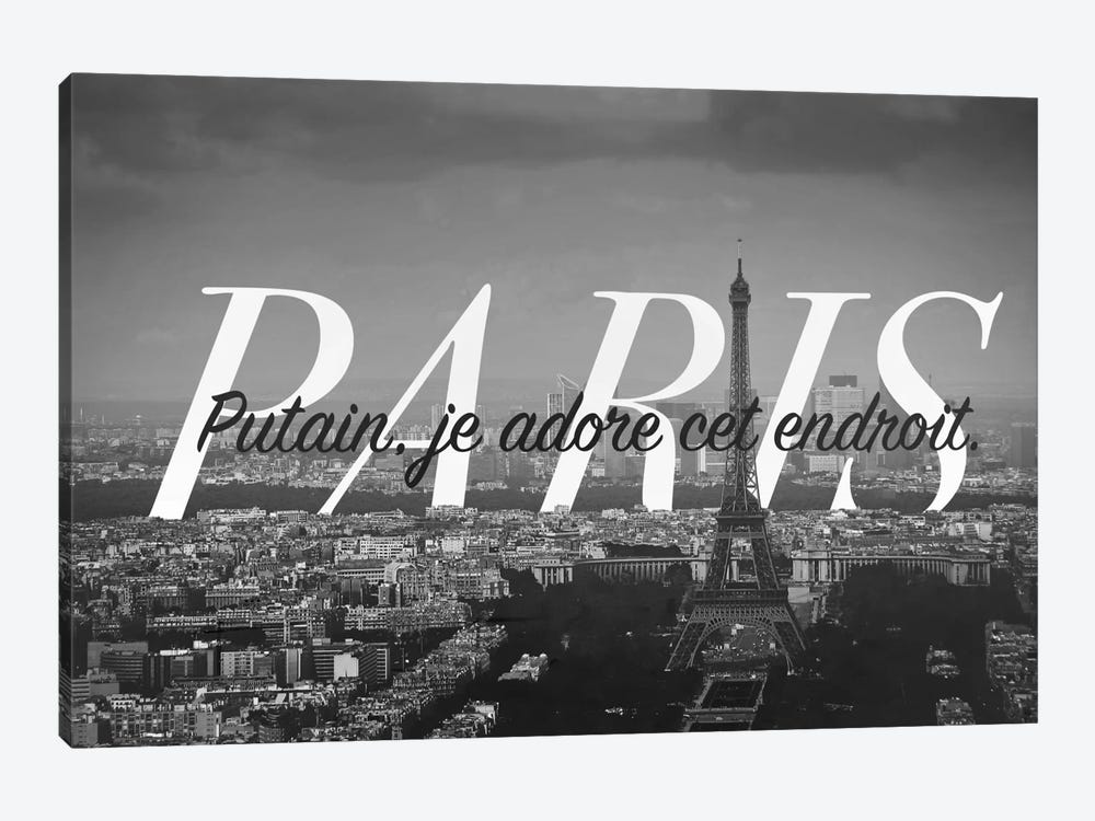 B/W Paris Love 1-piece Canvas Art Print