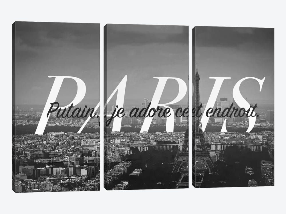 B/W Paris Love by 5by5collective 3-piece Canvas Print