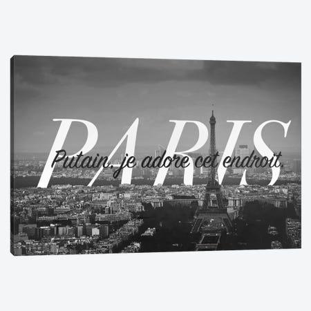 B/W Paris Love Canvas Print #CLV11} by 5by5collective Canvas Artwork