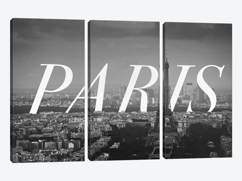 B/W Paris by 5by5collective 3-piece Canvas Art