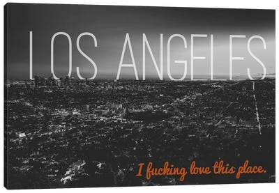 B/W L.A. Love Canvas Art Print