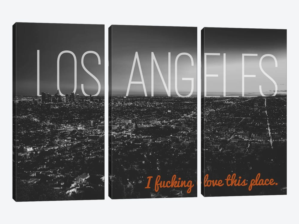 B/W L.A. Love by 5by5collective 3-piece Canvas Print