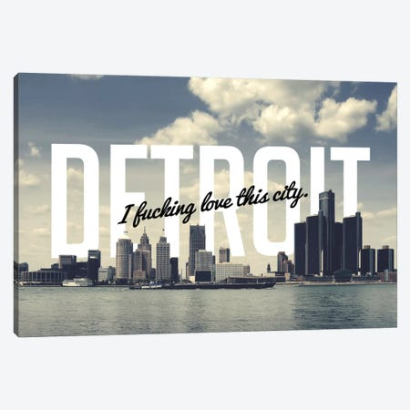 Detroit Love Canvas Print #CLV17} by 5by5collective Canvas Art Print