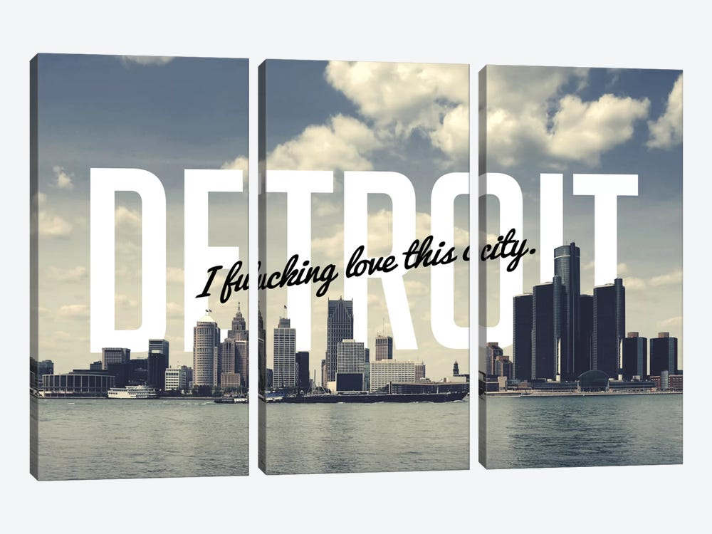 Detroit Love by 5by5collective 3-piece Canvas Art Print