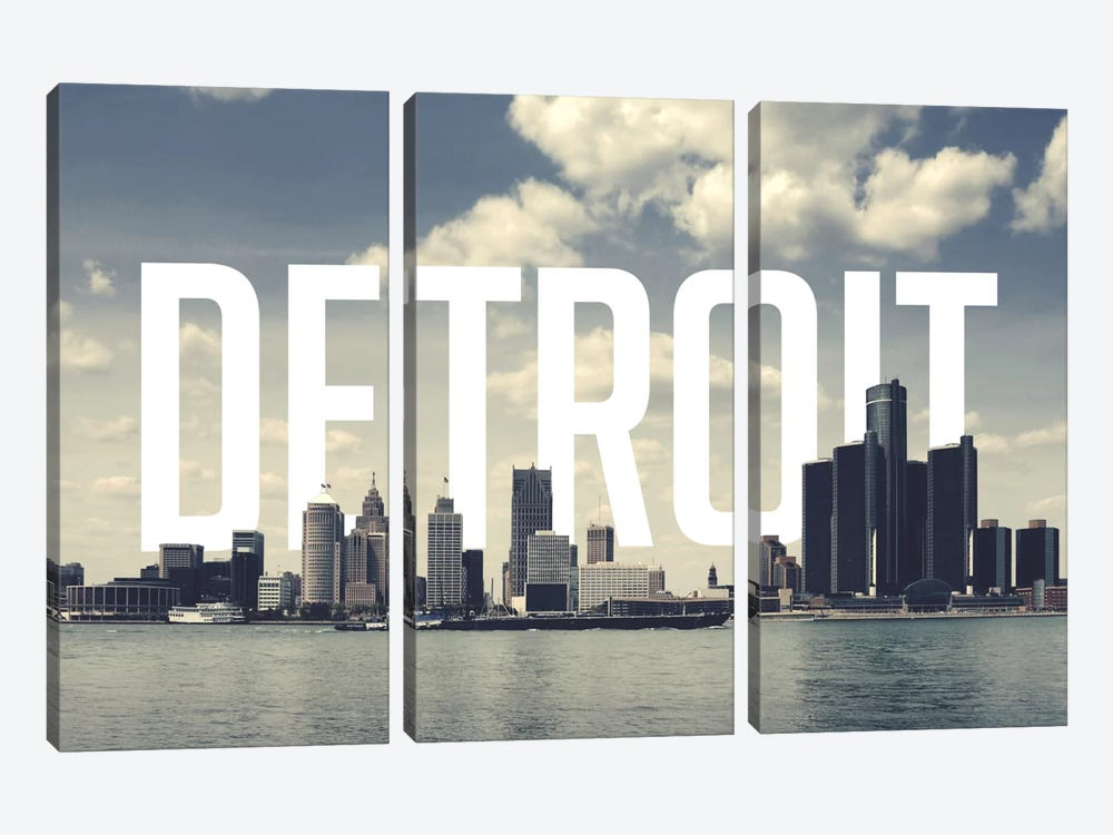Detroit by 5by5collective 3-piece Canvas Artwork