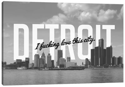 B/W Detroit Love Canvas Art Print