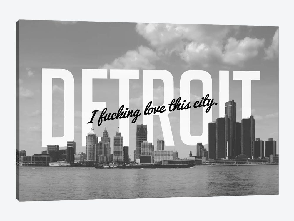 B/W Detroit Love by 5by5collective 1-piece Canvas Print