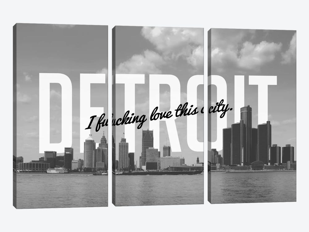 B/W Detroit Love by 5by5collective 3-piece Canvas Art Print