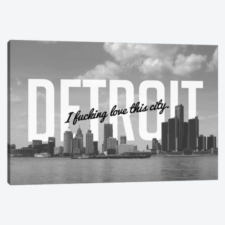 B/W Detroit Love Canvas Print #CLV19} by 5by5collective Canvas Wall Art