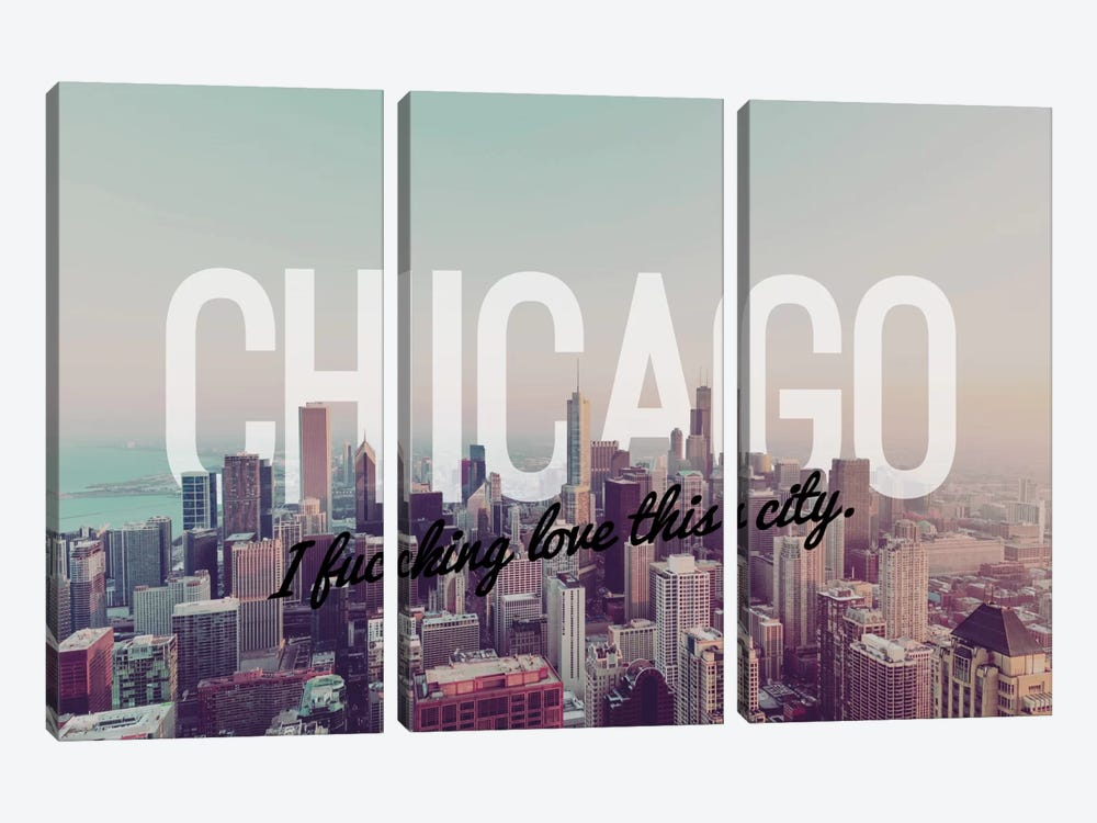 Chicago Love by 5by5collective 3-piece Canvas Wall Art