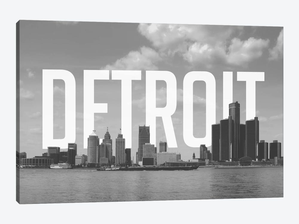 B/W Detroit by 5by5collective 1-piece Art Print