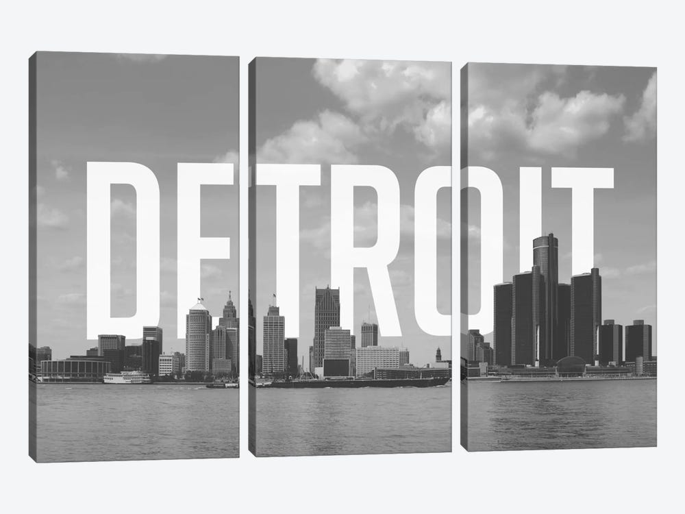 B/W Detroit by 5by5collective 3-piece Art Print