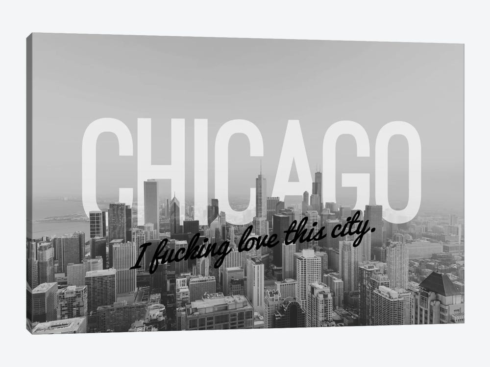 B/W Chicago Love by 5by5collective 1-piece Canvas Art