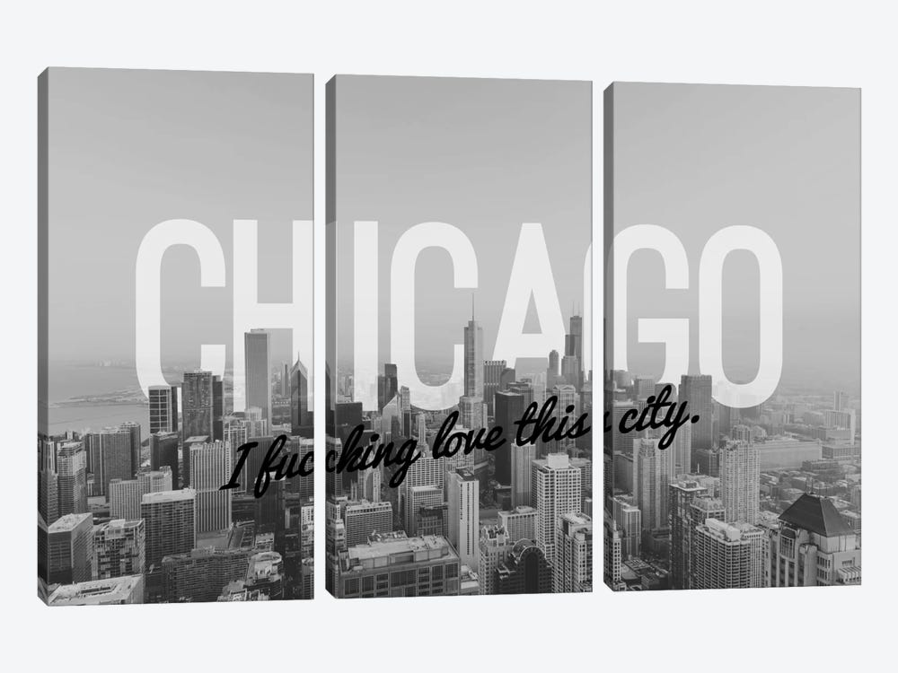B/W Chicago Love by 5by5collective 3-piece Canvas Wall Art