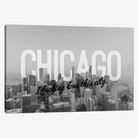 B/W Chicago Love Canvas Print #CLV3} by 5by5collective Canvas Wall Art