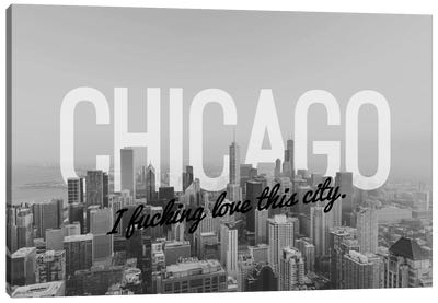 B/W Chicago Love Canvas Art Print