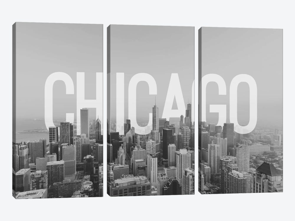 B/W Chicago by 5by5collective 3-piece Art Print