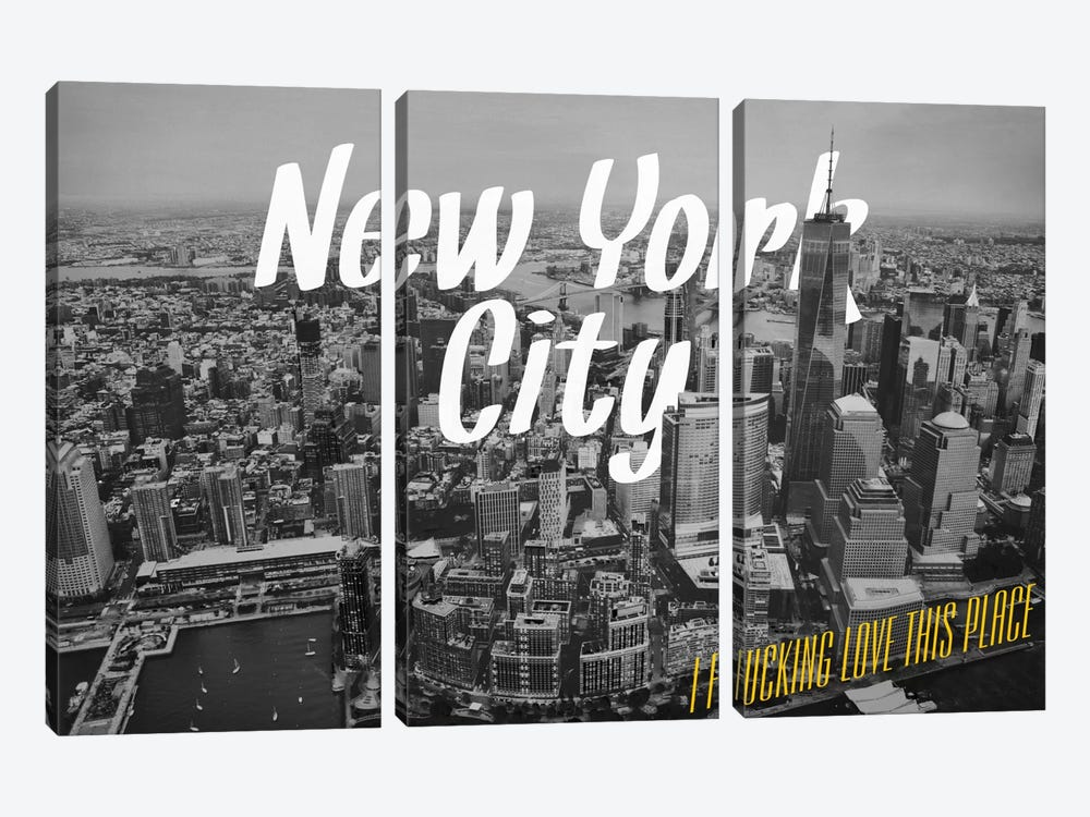 B/W New York Love by 5by5collective 3-piece Canvas Artwork