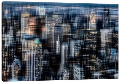 Downtown At Night Canvas Art Print