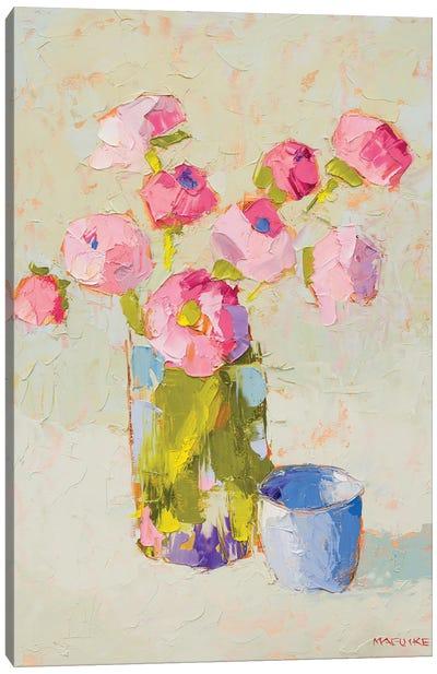 Bouquet With Blue Cup Canvas Art Print