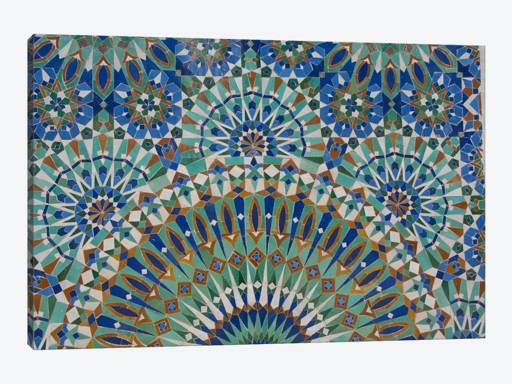 Close-Up Of A Decorative Mosaic I, Hassan II Mosque, Casablanca, Morocco 1-piece Canvas Print