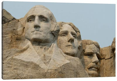 Washington, Jefferson And Roosevelt In Zoom, Mount Rushmore National Memorial, Pennington County, South Dakota, USA Canvas Art Print