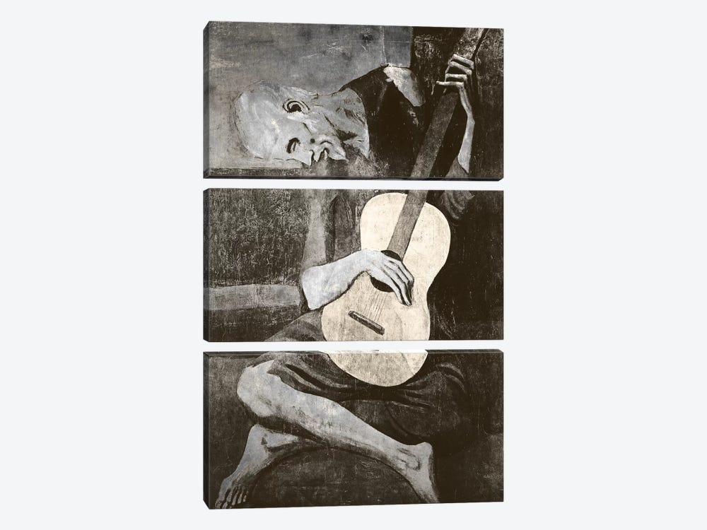 The Old Guitarist IV by 5by5collective 3-piece Canvas Art Print