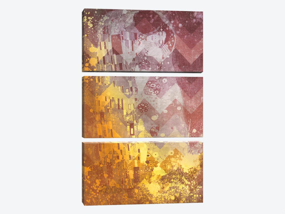 The Kiss IX by 5by5collective 3-piece Canvas Print