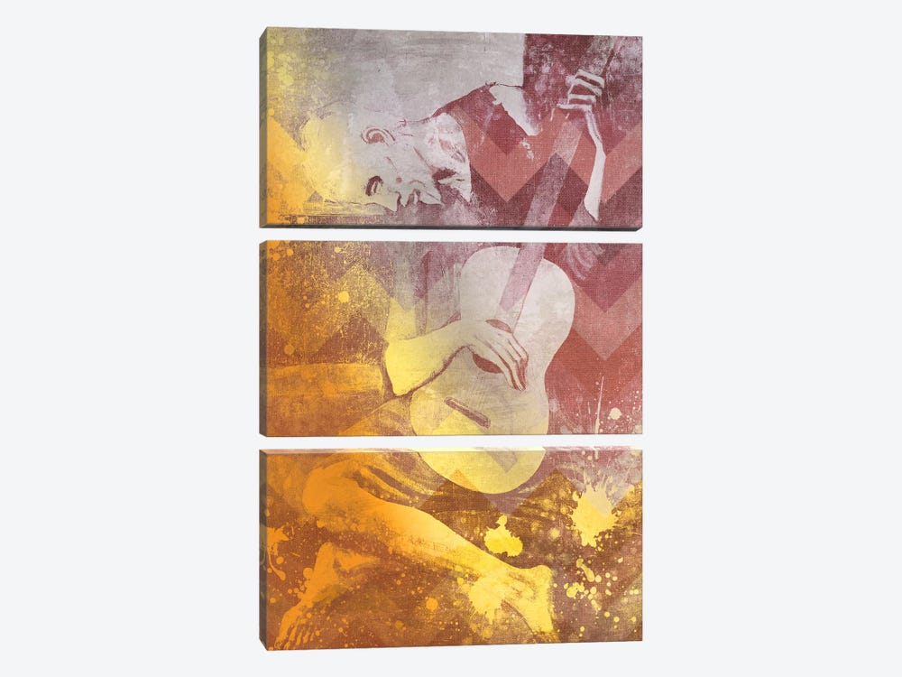 The Old Guitarist IX by 5by5collective 3-piece Canvas Artwork