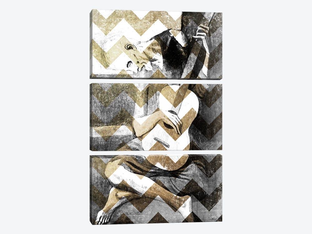 The Old Guitarist XIII by 5by5collective 3-piece Canvas Print