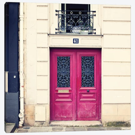 Paris Pink Door Canvas Print #CMN112} by Caroline Mint Art Print