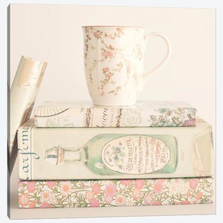 Pastel Books And Tea Canvas Print #CMN119} by Caroline Mint Canvas Print