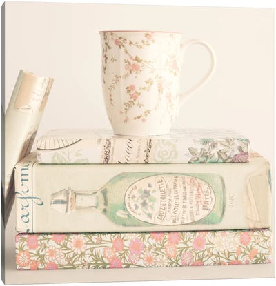 Pastel Books And Tea Canvas Art Print