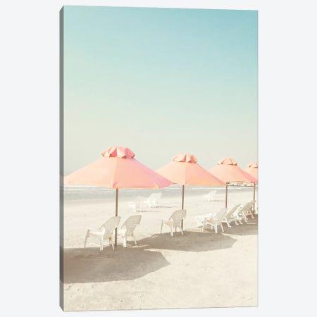 Pastel Umbrellas In The Beach Canvas Print #CMN122} by Caroline Mint Canvas Art