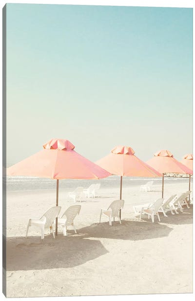 Pastel Umbrellas In The Beach Canvas Art Print