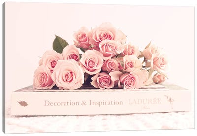 Peonies And Book Canvas Art Print